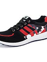 Men's Shoes Tulle Athletic Flats Athletic Sneaker Flat Heel Lace-up Black / Blue / Red