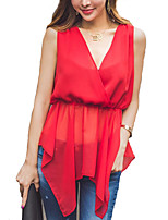 Women's Going out Boho / Street chic Summer Blouse,Solid V Neck Sleeveless Red Polyester Thin