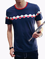 Men's Fashion Diamond Printed Round Collar Slim Fit Short-Sleeve T-Shirt;Casual/Cotton/Plus Size