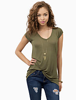 Women's Casual/Daily Simple Summer T-shirt,Solid V Neck Short Sleeve Green Polyester Opaque