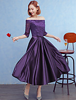 Formal Evening Dress A-line Off-the-shoulder Tea-length Lace / Satin with Bow(s)