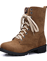 Women's Shoes Fleece Fashion Boots / Combat Boots / Round Toe Boots Office & Career / Dress / Casual Chunky Heel Lace-up