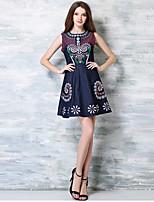 Women's Vintage / Boho Print A Line Dress,Round Neck Above Knee Cotton