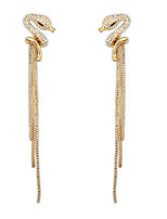 Serpentine Fashion Diamond Tassel Earrings Long Section