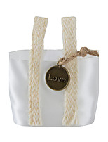 6pc White Fabric Favor Tins and Pails Basket with Love Pendant for Flower /Candy Decoration (8.5 * 8.5 *6cm)