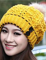 Women Casual Knitting Wool Button Thick Warm Cap