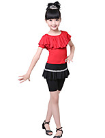 Children's Performance Milk Fiber Ruched 2 Pieces Short Sleeve Natural Top / Skirt Latin Dance Outfits