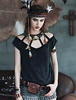Aporia.As® Femme Col Arrondi 1/2 Longueur de manches Shirt et Chemisier Noir-MZ03032