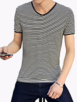 Men's Fashion Striped V Neck Casual Slim Fit Short-Sleeve T-Shirt;Casual/Striped /Plus Size