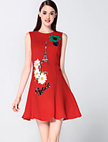 Boutique S Women's Going out Sophisticated Sheath Dress,Embroidered Round Neck Above Knee Sleeveless Red Cotton