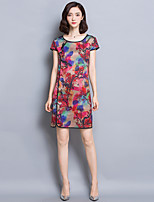 Women's Plus Size Chinoiserie Shift Dress,Floral Round Neck Above Knee Short Sleeve Red Rayon Summer