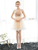 Cocktail Party Dress A-line Scoop Knee-length Tulle / Sequined with Sequins