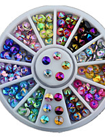 12colours Ogival Base Rhinestone Nail Jewelry Decorative Turntable Nail Tool