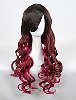High Quality Natural Long Curly 1B/Red Ombre Color Synthetic Wig For White Women