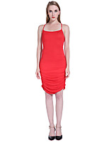 ADEAST Women's Going out / Casual/Daily / Beach Sexy Bodycon Dress,Solid Strap Knee-length Sleeveless Red / Green