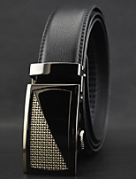 Men Business Automatic Buckle Leather Wide Belt,Work / Casual