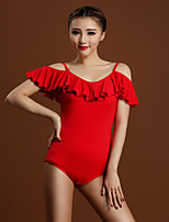Latin Dance Leotards Women's Training Viscose Ruffles 1 Piece Black / Red Latin Dance Short Sleeve Natural Leotard