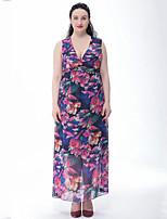 Women's Beach / Plus Size Boho Swing Dress,Print Deep V Maxi Sleeveless Blue / Red Cotton / Polyester Summer
