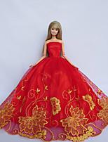 Poupée Barbie-Rouge / Jaune-Princesse-Robes- enSatin / Dentelle
