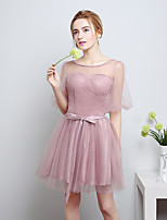 Knee-length Satin / Tulle Bridesmaid Dress-Candy Pink A-line Scoop