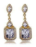 Simple Square Drop design Earrings 18K Gold plated & White Cubic Zircon Wedding Jewelery Drop Earring