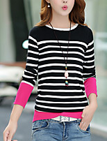 Women's Casual/Daily Simple Regular Pullover,Striped Black / Orange Round Neck Long Sleeve Cotton Fall Medium