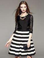 AFOLD® Women's Round Neck 3/4 Length Sleeve Above Knee Dress-5008