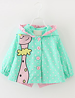 Girl's Casual/Daily Animal Print Trench Coat,Cotton Fall Blue / Green / Pink
