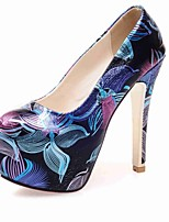 Women's Shoes PU Summer/ Round Toe Heels Office & Career / Casual Stiletto Heel Flower Black / Blue / Pink / Red