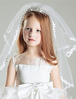 Wedding Veil Two-tier Shoulder Veils Ribbon Edge Tulle White White