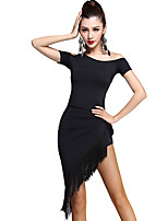 Latin Dance Dresses Women's Training Rayon Tassel(s) 1 Piece Black
