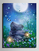 E-HOME® Stretched LED Canvas Print Art In The Garden LED Flashing Optical Fiber Print One Pcs