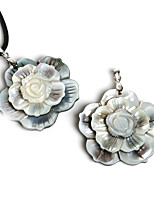 Beadia 48mm Natural Mother of Pearl 3 Layer Flower Black Shell Pendant (1Pc)