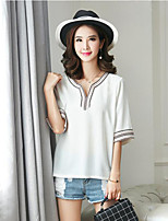 Women's Casual/Daily Plus Size Summer Blouse,Patchwork V Neck ½ Length Sleeve White / Black / Gray Cotton Medium