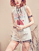 MizhenWomen's Print Gray T-shirt,Round Neck Sleeveless