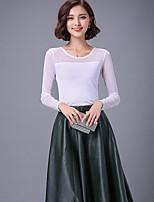Tee-shirt Aux femmes,Couleur Pleine Décontracté / Quotidien simple Automne Manches Longues Col ArrondiBleu / Rouge / Blanc / Noir / Vert