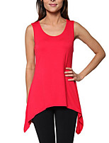 Women's Going out Street chic Summer Blouse,Solid Round Neck Sleeveless Blue / Red / Beige /