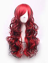 peluca ombre Harajuku Lolita pelucas sintéticas negro / rojo Pelucas pelo pánico maníaco animado barato perruque peluca cosplay naturales