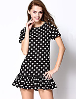 Women's Vintage / Simple Polka Dot Plus Size / A Line Dress,Round Neck Above Knee Polyester