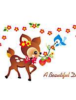 Wall Stickers Wall Decals Style Cartoon Cute Little Flower Deer PVC Wall Stickers