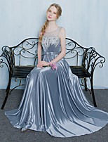 Formal Evening Dress A-line Scoop Floor-length Tulle / Charmeuse withAppliques / Beading / Bow(s) / Crystal Detailing