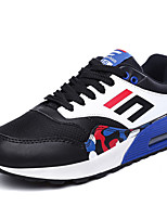 Men's Spring / Fall Comfort / Round Toe Tulle / PU Outdoor / Casual Flat Heel Blue / Navy / Black and White Sneaker