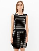 Women's Striped Black Set,Vintage Sleeveless