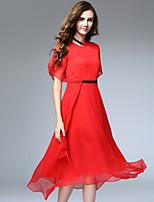 Viva Vena® Women's Round Neck Short Sleeve Tea-length Dress-VA88185