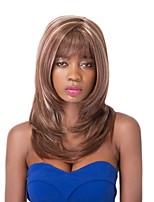 European Vogue Medium Sythetic Mixd Brown Neat Bang Party Wig For Women