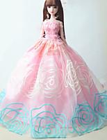 Poupée Barbie-Rose / Bleu Ciel-Soirée & Cérémonie-Robes- enOrganza / Dentelle