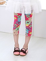 Girl's Casual/Daily Print Pants,Cotton Summer Blue / Green / Pink / Red / White