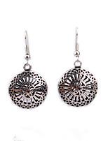 Personality Retro Folk Style Hollow Carved Round Earrings