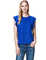 Women's Solid Ruched Loose Chiffion Large Size Casual  Blouse,Round Neck Sleeveless