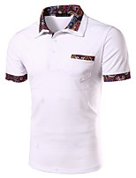Men's Casual Floral Stitching Slim Short Sleeved Polo Shirt,Cotton / Polyester Casual Floral / Patchwork